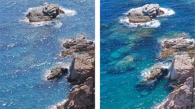 Vlevo obrázek bez polarizovaných brýlí, vpravo obrázek s polarizovanými brýlemi