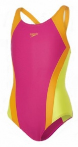 Speedo Contrast Panel Splashback Girl Pink/Jaffa/Lime