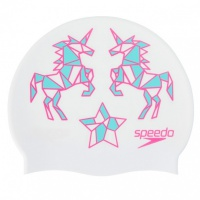 Speedo Slogan Cap Junior White/Pink/Spearmint