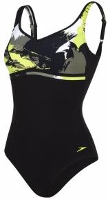 Speedo Contourluxe Printed 1 Piece Black/Moss/Lime Punch/White