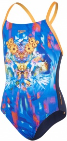 Speedo Dreamscape Fusion Crossback Girl Navy/Fluo Orange/Turquoise