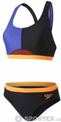 Speedo HydrActive 2 Piece Black/Ultramarine/Fluo Orange