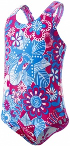 Speedo Fantasy Flowers Essential All Over 1 Piece Girl Electric Pink/Neon Blue/White