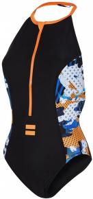 Speedo Stormza High Neck 1 Piece Black/Fluo Orange/White