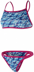 Speedo Waterflow/Fireglam Flip Reverse 2 Piece Teen Electric Pink/Turquoise/Amparo Blue