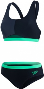 Speedo HydrActive 2 Piece Black/Oxid Grey/Fake Green