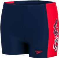 Speedo Flash Attack Placement Panel Aquashort Boy Navy/Risk Red