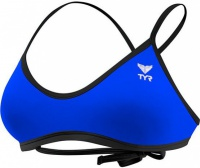 Tyr Women's Durafast One Solids Crosscut Tieback Top Royal/Black