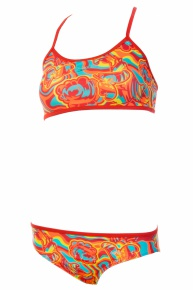 Speedo Colourmelt Allover Crop Top 2 Piece Girl Watermelon/Fluo Orange/Spearmint