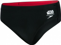 Speedo Contrast Waistband Brief Boy Trooper Logo Black/White/Risk Red
