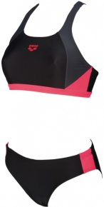 Arena W Ren Two Pieces Black/Deep Grey/Fluo Red