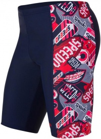 Speedo Flash Attack Allover Panel Jammer Boy Flash Attack Navy/Risk Red