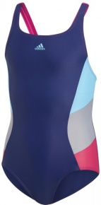 Adidas Fitness Training Swimsuit Colorblock Support Girls Dark Blue/Bright Cyan