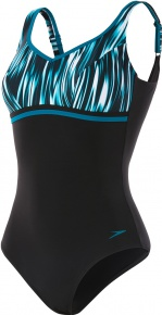 Speedo ContourLuxe Printed 1 Piece Nordic Teal/Black/White