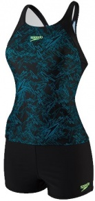 Speedo Boom Allover Tankini Black/Nordic Teal/Bright Zest