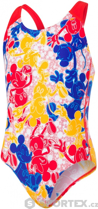 d88cec4b02 Speedo Disney Mickey Mouse Allover 1 Piece Girl Blue Red Yellow White