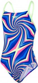 Speedo Allover Digital Thinstrap Crossback Girl Brilliant Blue/Chroma Blue/Bright Zest