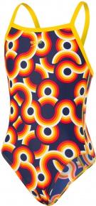 Speedo Allover Crossback Girl Navy/Pure Yellow/Pure Orange