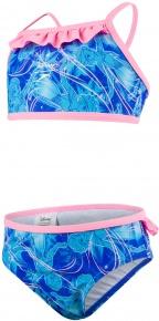 Speedo Disney Frozen Allover 2 Piece Girl Beautiful Blue/Turquoise/Pink Splash