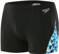 Speedo ReflectFlash Allover Digital V Panel Aquashort Black/Navy/Ink Blue