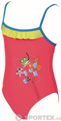 Arena AWT Rouche Kids Girl One Piece Fluo Red/Pix Blue/Soft Green