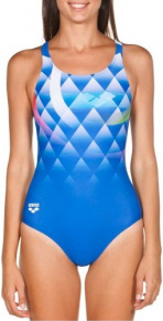 Arena Bouncy V Back One Piece Navy/Shiny Pink