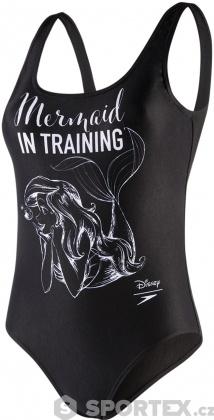Speedo Little Mermaid Slogan U Back Black/White