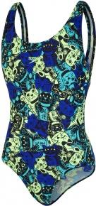 Speedo ManekiMeow Allover Splashback Girl Black/Bright Zest/Chroma Blue/Aquasplash