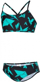 Speedo AkiraCrane Allover 2 Piece Girl Black/Aqua Splash
