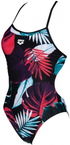 Arena Tropical Leaves Tie Back One Piece Black/Multi