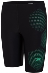 Speedo Tech Placement Jammer Boy Black/Green Glow