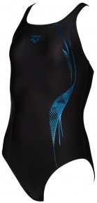 Arena Slinky V Back One Piece Junior Black/Neon Blue