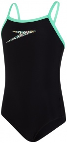 Speedo Boom Placement Thinstrap Muscleback Girl Black/Green Glow