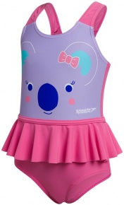 Speedo Koko Koala Frill Swimsuit Infant Girl Galinda/Powder Blush/Marine Blue
