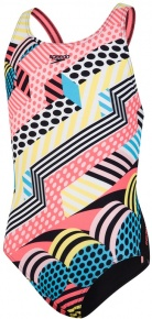 Speedo DazzleSpark Digital Placement Leaderback Girl Black/White/Turquoise/Phoenix Red