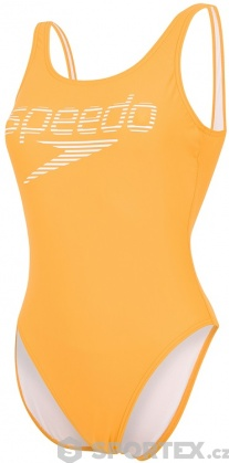 Speedo Stripe Logo Deep U-Back 1 Piece Mango/White