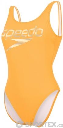 Speedo Stripe Logo Deep U-Back 1 Piece Mango/White