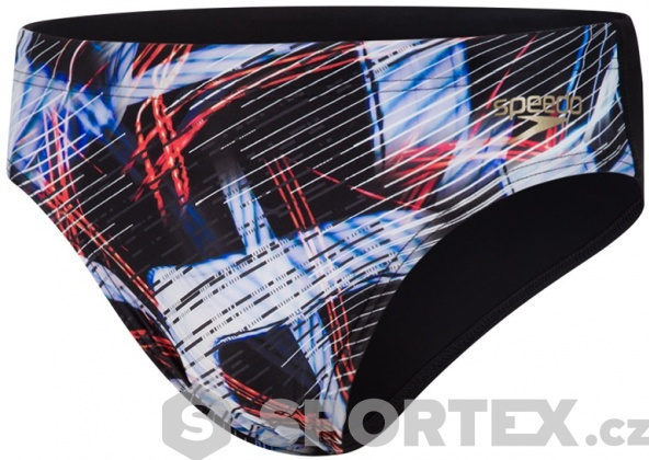 Speedo Allover Digital 7cm Brief Black/Lava Red/White