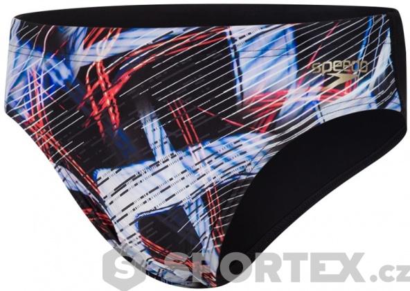 Speedo Allover Digital 7cm Brief Black/Lava Red/White
