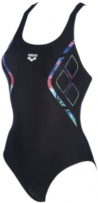 Arena Reflected Simmetry V Back One Piece Black/Neon Blue