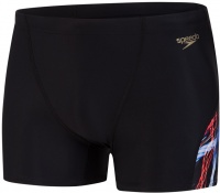 Speedo Allover Digital V-Cut Aquashort Black/Lava Red/White