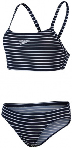 Speedo Endurance+ Printed Thinstrap 2 Piece True Navy/White