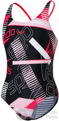 Speedo Allover Tieback Girl Black/Lava Red/Cotton Candy/White