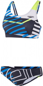 Speedo Placement U-Back 2 Piece True Navy/Bondi Blue/Fluo Yellow/White