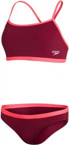 Speedo 2 Piece Tie-Back Top and Waistband Brief Oxblood/Siren Red