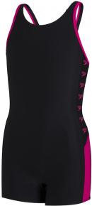 Speedo Boom Logo Splice Legsuit Girl Black/Electric Pink